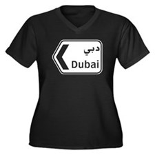 Dubai, UAE Women's Plus Size V-Neck Dark T-Shirt