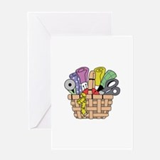 SEWING QUILTING BASKET Greeting Cards