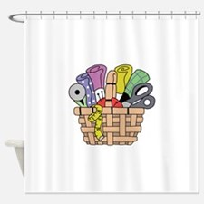 SEWING QUILTING BASKET Shower Curtain