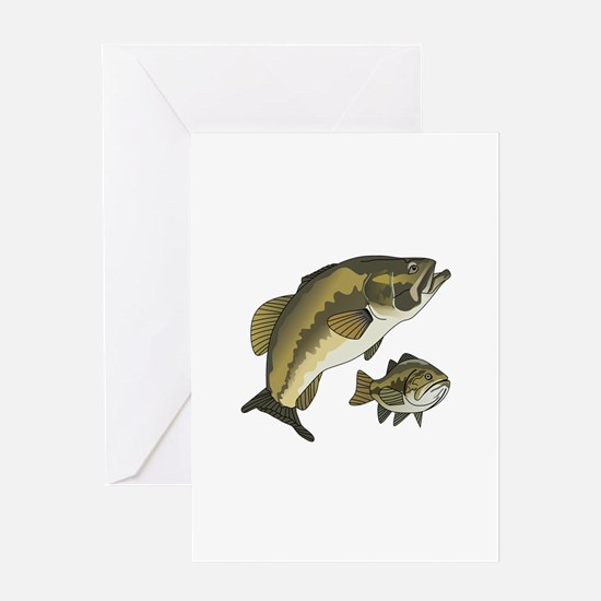 BASS FISHES Greeting Cards