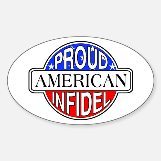 Patriotic American Infidel Oval Decal