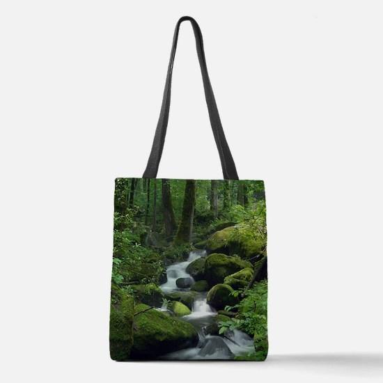 Summer Forest Brook Polyester Tote Bag