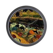Gauguin - Washerwomen at Roubinee du Ro Wall Clock