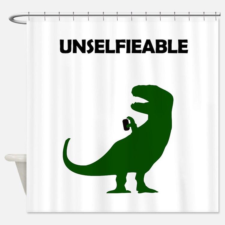 Unselfieable T-Rex Shower Curtain