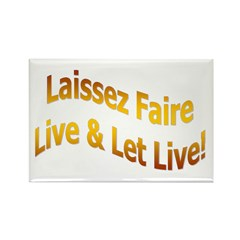 Laissez Faire-Gold Rectangle Magnet (100 pack)