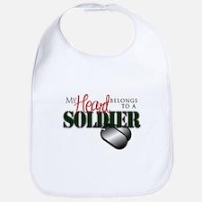 Heart Belong to Soldier Bib