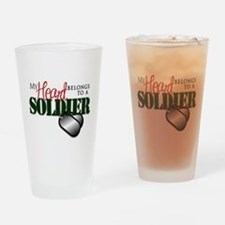 Heart Belong to Soldier Drinking Glass