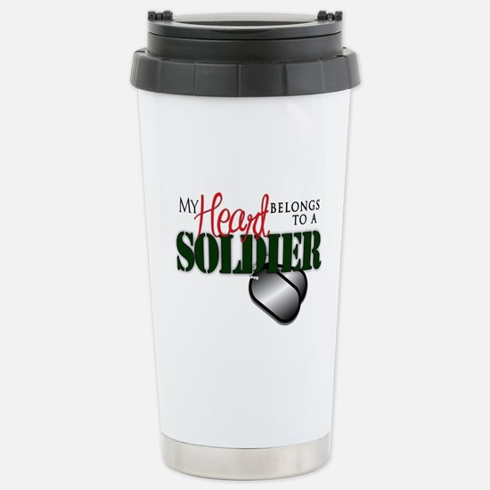 Heart Belong to Soldier Stainless Steel Travel Mug