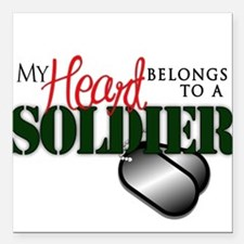 """Heart Belong to Soldier Square Car Magnet 3"""" x 3"""""""