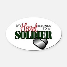 Heart Belong to Soldier Oval Car Magnet