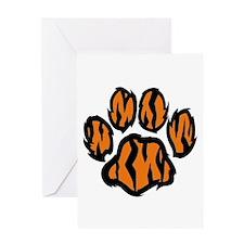 TIGER PAW PRINT Greeting Cards