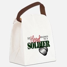 Heart Belong to Soldier Canvas Lunch Bag