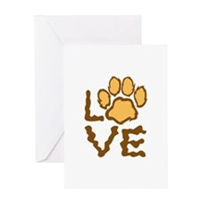 PAW PRINT LOVE Greeting Cards