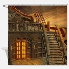 Onboard Pirate Ship Shower Curtain