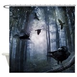 Forest nature fog Shower Curtains