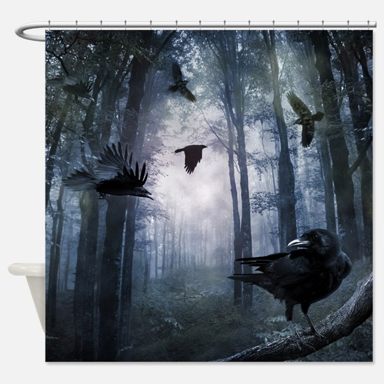 Misty Forest Crows Shower Curtain