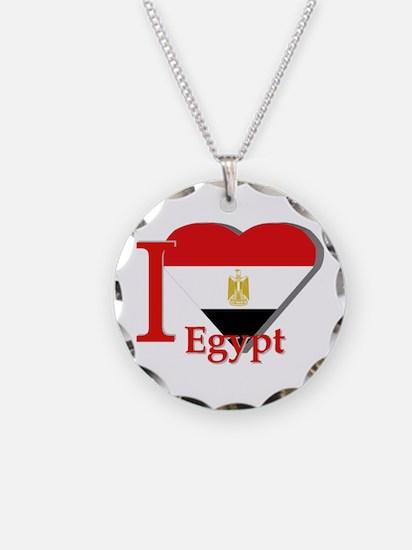 I love Egypt Necklace Circle Charm