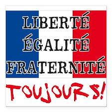 """Liberte Egalite Fraterni Square Car Magnet 3"""" x 3"""""""