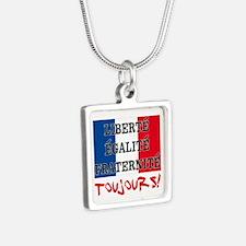 Liberte Egalite Fraternite Silver Square Necklace
