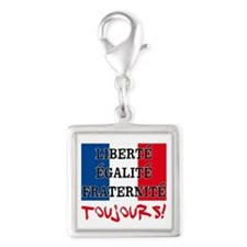 Liberte Egalite Fraternite To Silver Square Charm