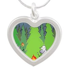 Cute Funny Silver Heart Necklace