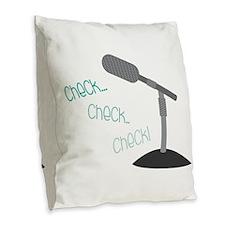 Check Check Check! Burlap Throw Pillow