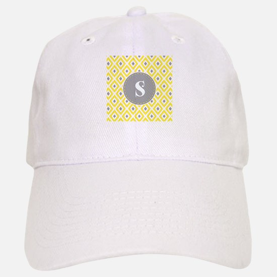 Yellow Grey Ikat Diamond Pattern Monogram Baseball