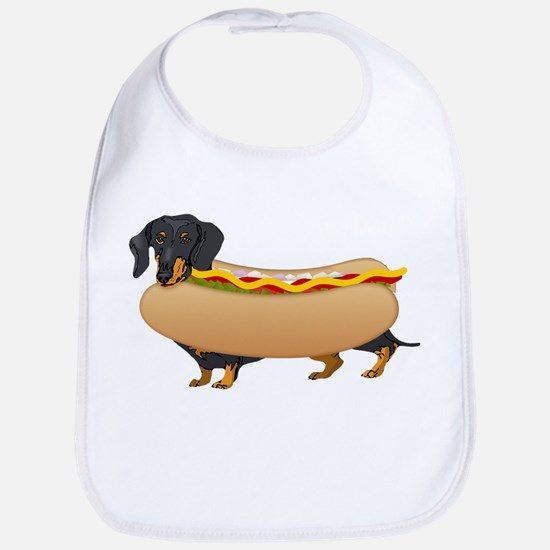 Black Weiner Dog with all the Fixings Bib
