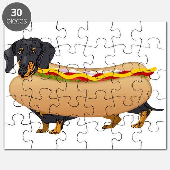 Black Weiner Dog with all the Fixings Puzzle
