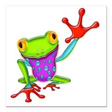 "Waving Poison Dart Frog Square Car Magnet 3"" x 3"""