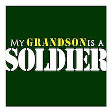 "Grandson is a Soldier Square Car Magnet 3"" x 3"""