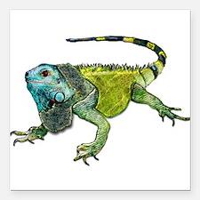"Gorgeous Green Iguana Square Car Magnet 3"" x 3"""