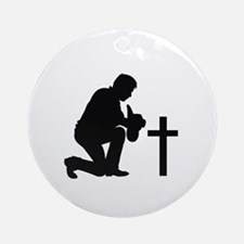 COWBOY KNEELING AT CROSS Ornament (Round)
