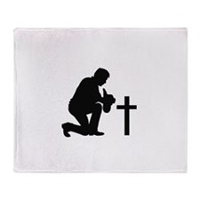 COWBOY KNEELING AT CROSS Throw Blanket