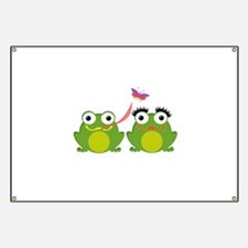 Froggy Couple Sharing a Bug Banner