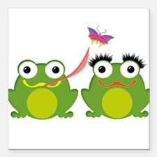 """Froggy Couple Sharing a Square Car Magnet 3"""" x 3"""""""