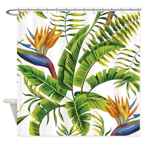 Birch Tree Fabric Curtains Bird of Paradise Tiles