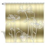 Shaded Gold And White Poppies Shower Curtain