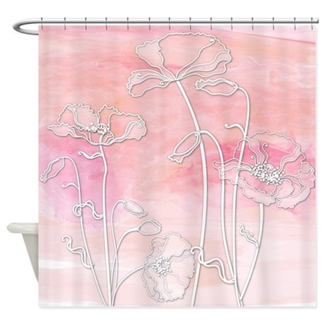 watercolor poppies pink and coral shower curtain by getyergoat