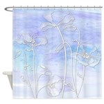 Watercolor Blue And Purple Poppiesshower Curtain