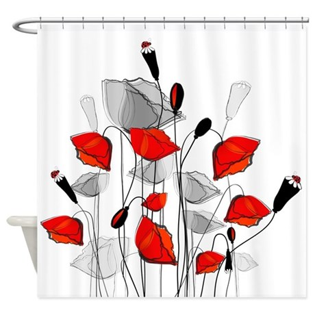 Beautiful Red Whimsical Poppies Shower Curtain by yergoat