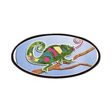 Colorful Cut Paper Chameleon Patches