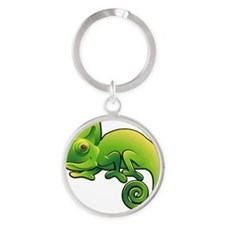 Green Chameleon with Purple Eyes Keychains