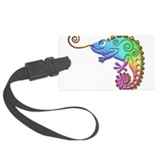 Rainbow Chameleon with Gold Tong Luggage Tag