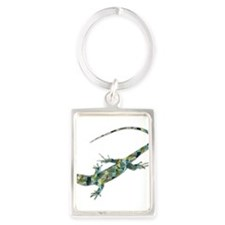 Mosaic Polygon Green Lizard Keychains