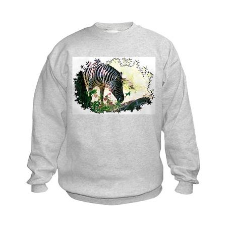 Grazing Zebra Kids Sweatshirt