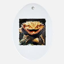 Grotesque Bearded Dragon Lizard Ornament (Oval)