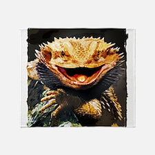 Grotesque Bearded Dragon Lizard Throw Blanket