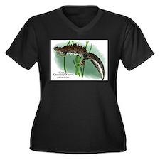 Great Creste Women's Plus Size V-Neck Dark T-Shirt