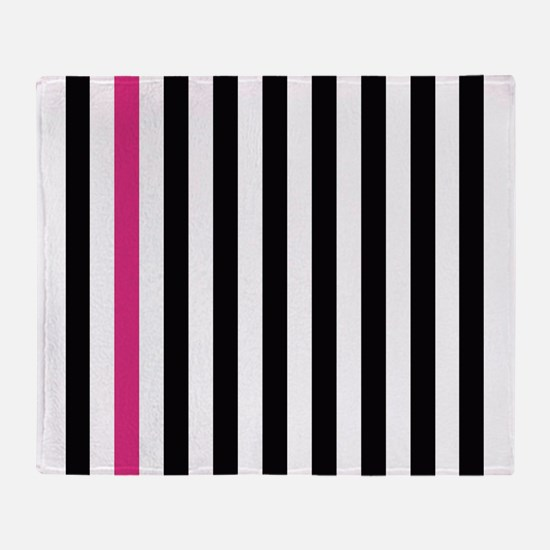 With A Pink Stripe Throw Blanket